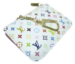 Louis Vuitton Mint Authentic Louis Vuitton Multicolore Monogram White Cles Coin Purse w/ Litchi Interior