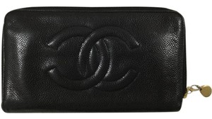 Chanel Black Caviar Leather Zip Wallet