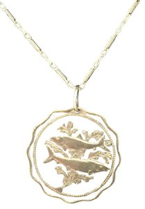 Bermuda Cut-Out, Sealife Coin Silvertone Necklace