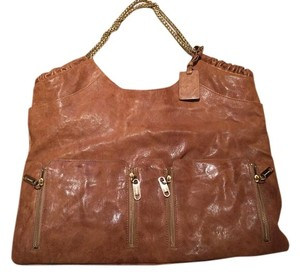 Alexis Hudson Gold Hardware Zipper Details Leather Shoulder Bag