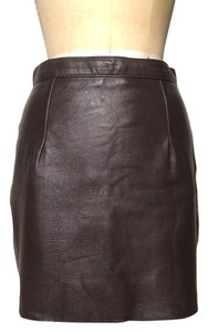 American Apparel Mini Leather Mini Skirt Brown