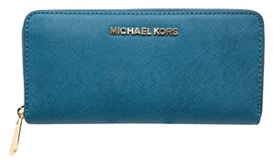 Michael Kors * Travel Zip Around Continental Wallet Aquamarine