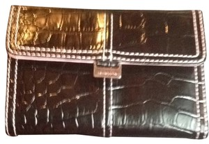 Liz Claiborne Black Leather Wallet With Pink Lining