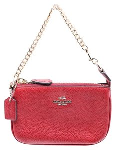 Coach Nolita Pebbled Leather Goldtone Hardware Wristlet in Red