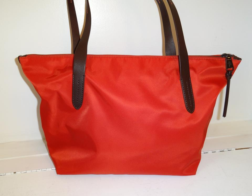 41a624a48 Cole Haan Parker Top Shopper Orange Nylon and Leather Tote - Tradesy