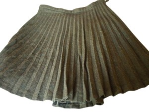 BCBGMAXAZRIA Pleated Olive Mini Skirt Green