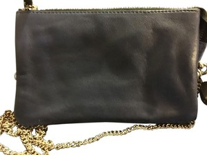 Galeries Lafayette Leather Chainlink Crossbody Silver Navy Blue Clutch