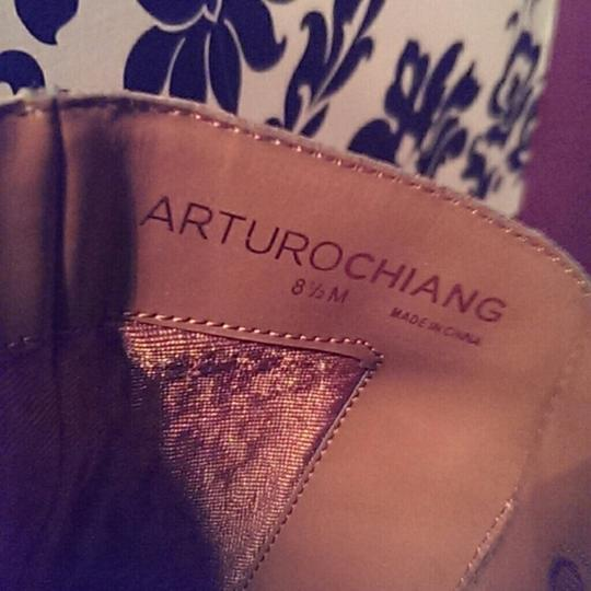 Arturo Chiang Fall Leather Metallic Hardware Cognac Boots