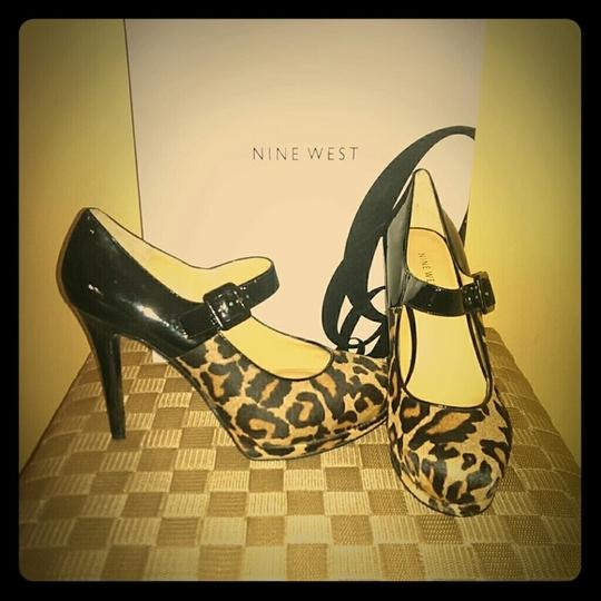 Nine West Cheetah Patent Gno Animal Print Platforms Image 1