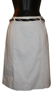 Grace Dane Lewis Belted Pencil Pockets Dryclean Only Skirt White
