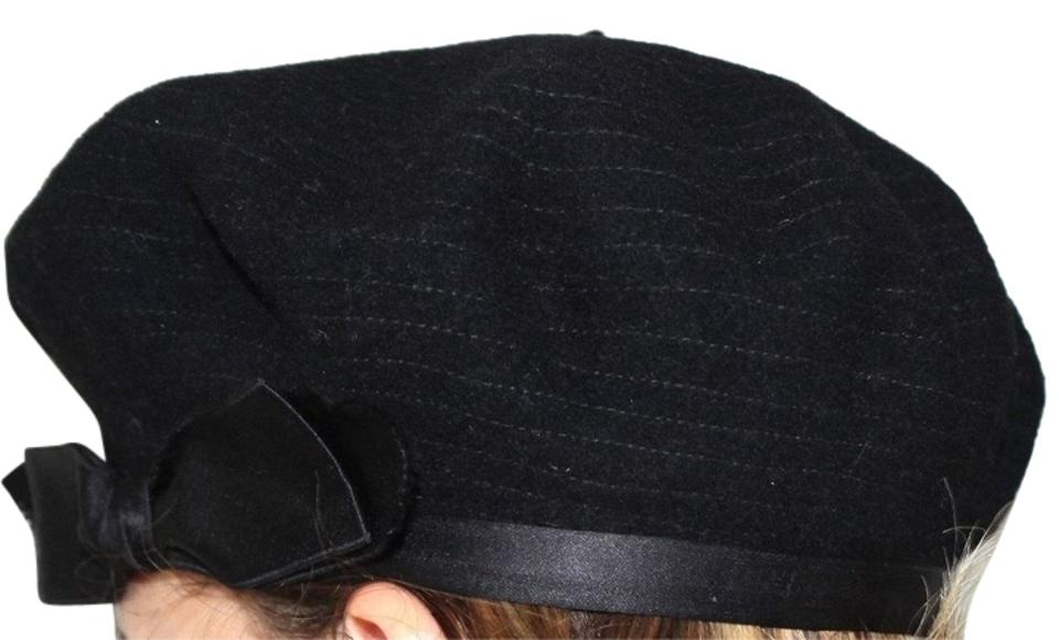 Chanel Black Beret Stitched Wool with Silk Trim and Bow Hat