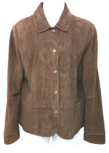 Vakko Suede Leather BROWN Leather Jacket