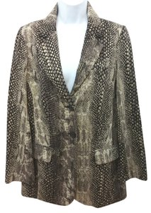 Chico's Animal Print Knit Jacket BROWN/BLACK/BEIGE Blazer