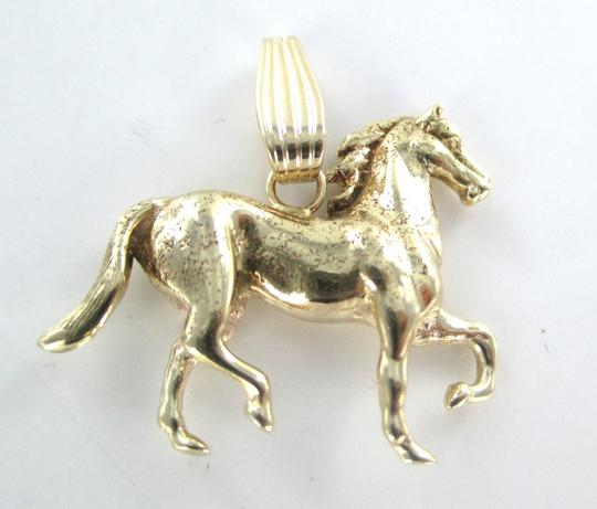 Other 14K KARAT SOLID YELLOW GOLD PENDANT HORSE TROTTING 3D RACING FINE JEWELRY JEWEL