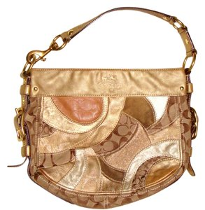 Coach Gold Leather Patchwork Suede Tan Beige Brown Logo Canvas Shoulder Bag