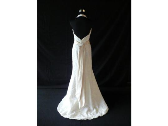 Tara Keely White Alencon Lace Over Taffeta Tk2712 Wedding Dress Size 4 (S)