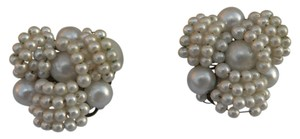 Japan Vintage 50s Haskell Style Faux Pearl Clip On Earring Japan