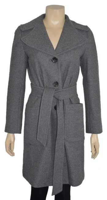 Item - Grey Wool Long Belted Classic Xsmall Ss Coat Size 0 (XS)