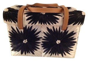 Kate Spade White and black with tan leather straps Clutch