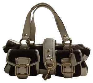 Coach Satchel in Brown White Gold