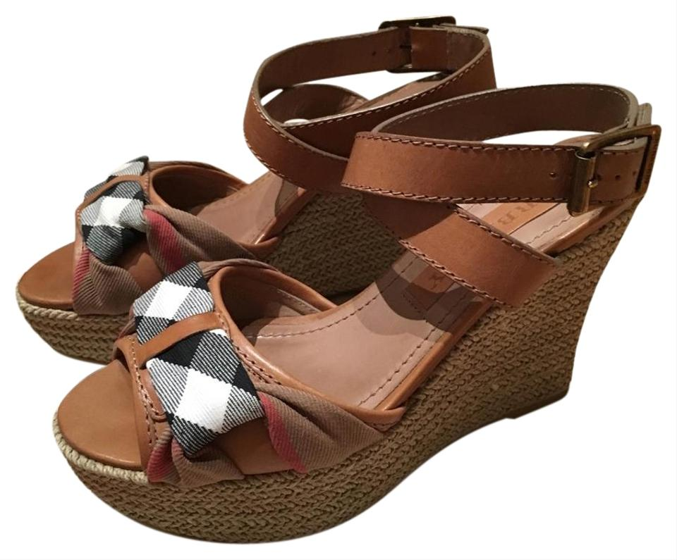 593b74de669fbb Burberry Brown Washed Housecheck Donegall Espadrille Wedges Size US ...