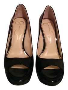 Jessica Simpson black patent leather with cork wedge Wedges