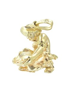 Other 14KT SOLID YELLOW GOLD 3D MINER WITH PAN NUGGET DIGGER