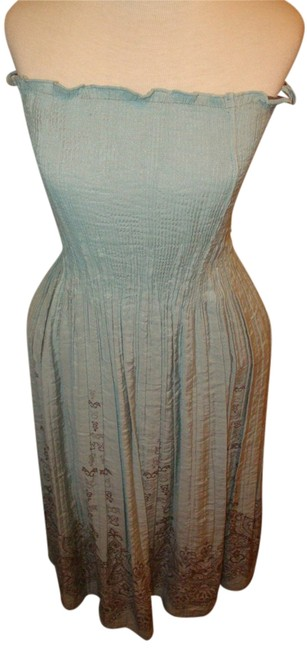 Light blue/green, Aqua, Gray/Taupe Maxi Dress by Two Star Dog Strapless Stretchy