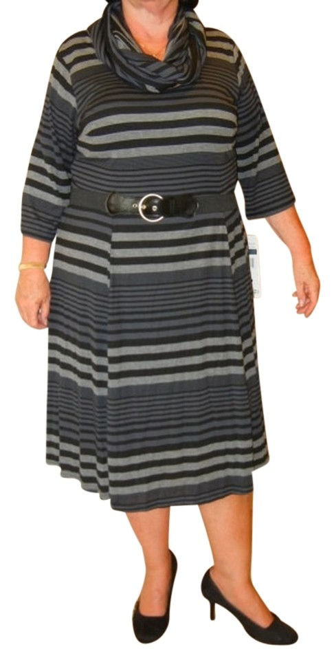 Robbie Bee Gray Striped Infinity Scarf Belted Knit Mid-length Work/Office  Dress Size 20 (Plus 1x) 59% off retail
