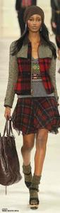 Polo Ralph Lauren Red Plaid Women Mixed-media Green Boiled Wool & Quilted Nylon Jacket Jacket