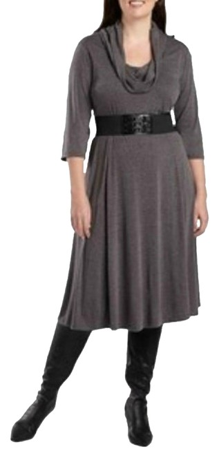 Item - Gray Heather Cowlneck Belted Stretch Knit 18w Mid-length Work/Office Dress Size 18 (XL, Plus 0x)