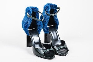 Pierre Hardy Hardy Dark Green Blue Snakeskin Mink Fur Ankle Multi-Color Sandals