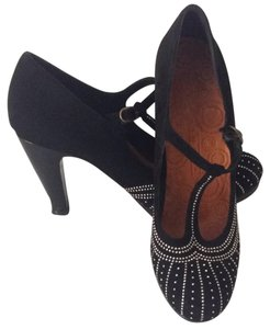 Chie Mihara Black With Small Silver Dots Throughout Toe. There Are Also 4 Rows Of Silver Dots Side To Side Around Top Of Toe Sandals