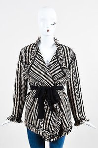 Dior Christian Black Beige Knit Fringe Tie Ls Cardigan Sweater
