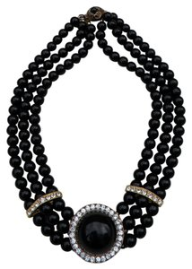 Large Vintage Couture Triple Strand Black Glass & Crystal Beaded Necklace