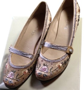 Two Lips Gold, Silver, Yellow, Green, Brown, Sequence & Embroidery Ivy & Flowers Mules