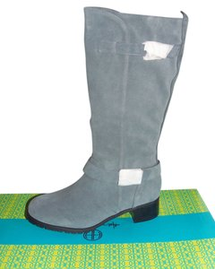 Moto Tall Gray Suede Boots