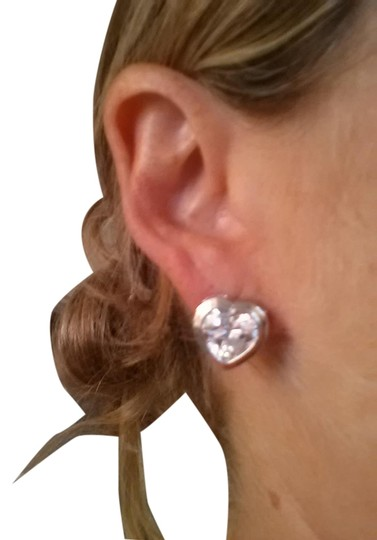 Other Hear shaped .925 sterling silver and cut ctystal earrings