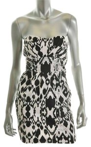 LOVE TEASE short dress Black, White Sweatheart Neckline Strapless Micro-mini Ikat Sundress on Tradesy