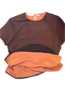 Anne Klein Top Luscious chocolate brown & melon