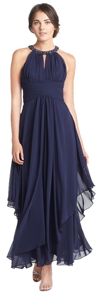 Eliza J Navy Blue Beaded Embellished Tiered Chiffon Halter Gown Long ...