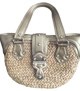 Michael Kors Straw Satchel in Gold Leather & Natural
