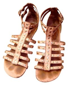 Ballasox by Corso Como Leather Gladiator Studded Tan Sandals