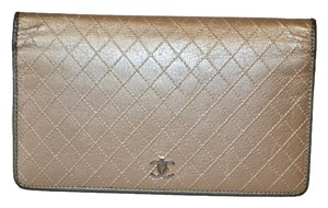 Chanel Authentic Chanel Metallic Gold Quilted Long Wallet