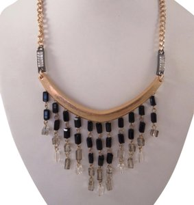 Kenneth Cole Kenneth Cole Black Fringe Gold Tone Beaded Fringe Drop Necklace