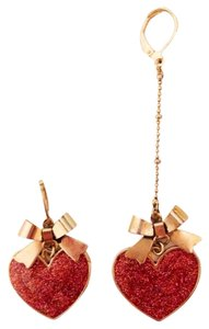 Betsey Johnson Betsey Johnson Mismatch Pink Glitter Heart Bow Earrings