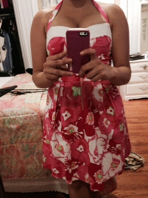 Lilly Pulitzer short dress Hotty Pink Cherry Begonias Summer Spring Floral Print on Tradesy