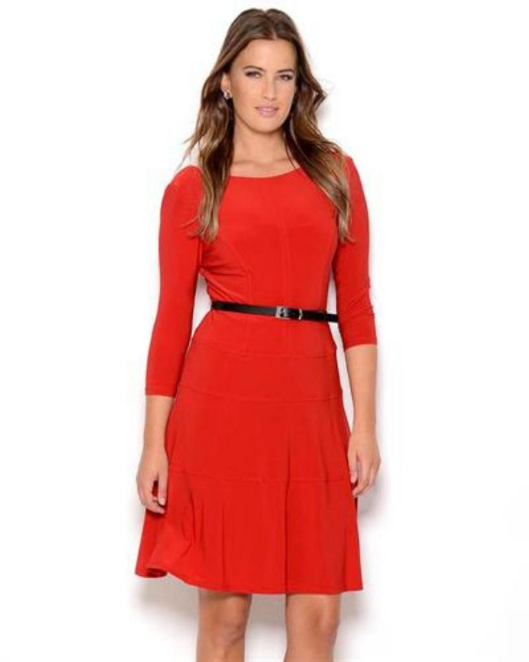 red swing dress plus size anne klein red belted jersey 3 4 sleeve swing knee length
