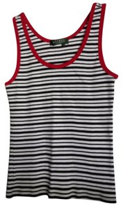 Ralph Lauren Top Navy, white stripe with red trim