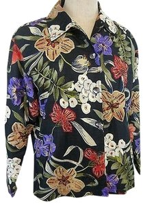 Chico's Design 100 Silk 1 Floral Beaded Multi-Color Jacket